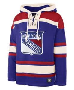 New York Rangers Men's 47 Brand Blue Pullover Jersey Hoodie