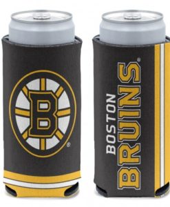 Boston Bruins 12 oz Black Slim Can Koozie Holder