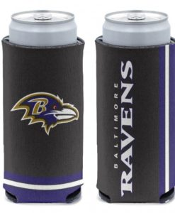 Baltimore Ravens 12 oz Black Slim Can Koozie Holder