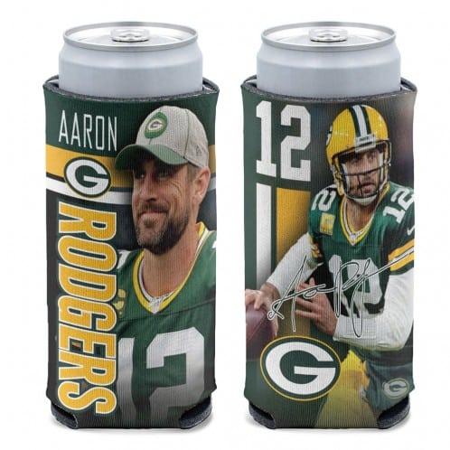 Green Bay Packers 12 oz Green Aaron Rodgers Slim Can Koozie Holder
