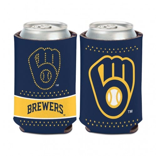 Milwaukee Brewers 12 oz Bling Navy Yellow Can Koozie Holder