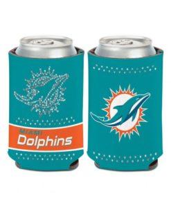 Miami Dolphins 12 oz Bling Aqua Orange Can Koozie Holder