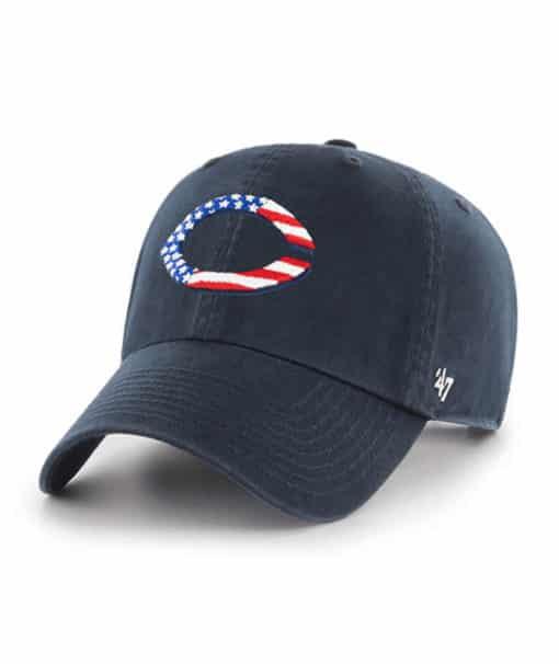 Cincinnati Reds Red White & Blue 47 Brand Navy Clean Up Adjustable Hat