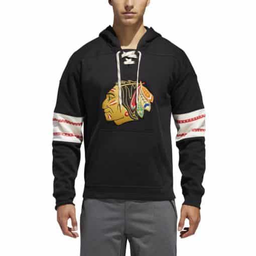 Chicago Blackhawks Men's Adidas Black Pullover Hoodie