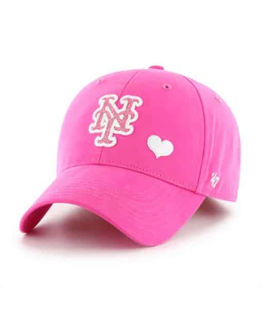 New York Mets KIDS Girls 47 Brand Pink Sugar Sweet MVP Adjustable Hat