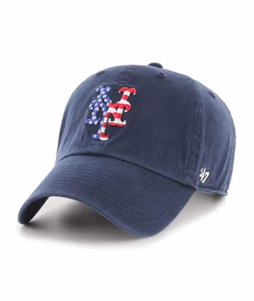 New York Mets Red White & Blue 47 Brand Navy Clean Up Adjustable Hat