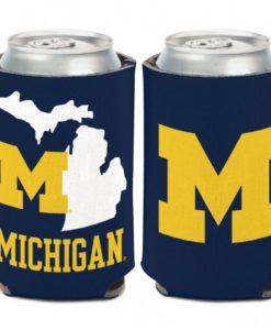 Michigan Wolverines 12 oz State Shape Blue Can Koozie Holder