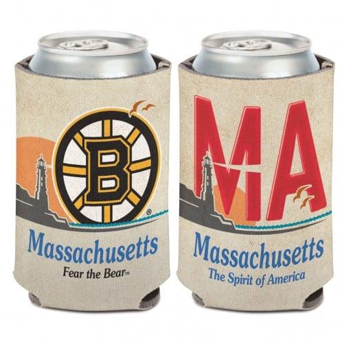 Boston Bruins 12 oz White State Plate Can Koozie Holder