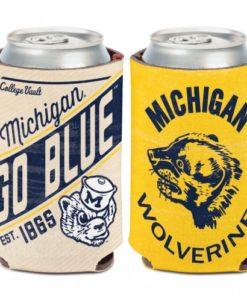 Michigan Wolverines 12 oz Vintage Yellow Cream Can Koozie Holder