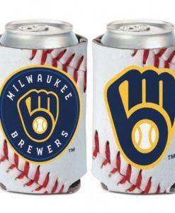 Milwaukee Brewers 12 oz Blue White Ball Can Koozie Holder