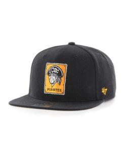 Pittsburgh Pirates 47 Brand Black Sure Shot Cooperstown Snapback Adjustable Hat