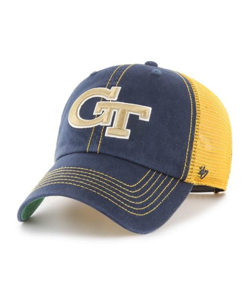 Georgia Tech Yellow Jackets 47 Brand Trawler Navy Clean Up Mesh Snapback Hat