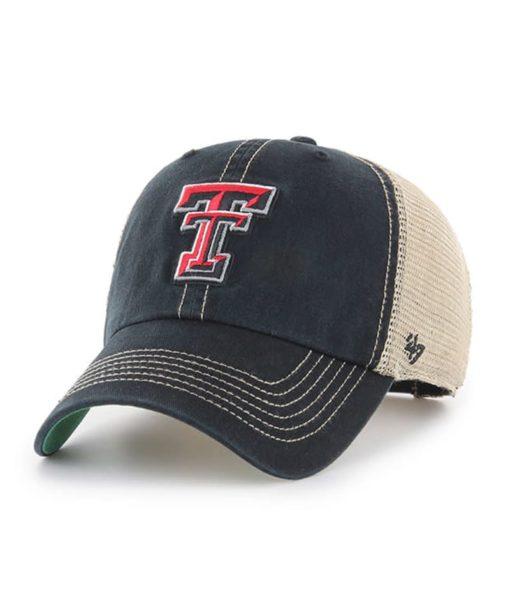 Texas Tech Red Raiders 47 Brand Trawler Black Clean Up Mesh Snapback Hat
