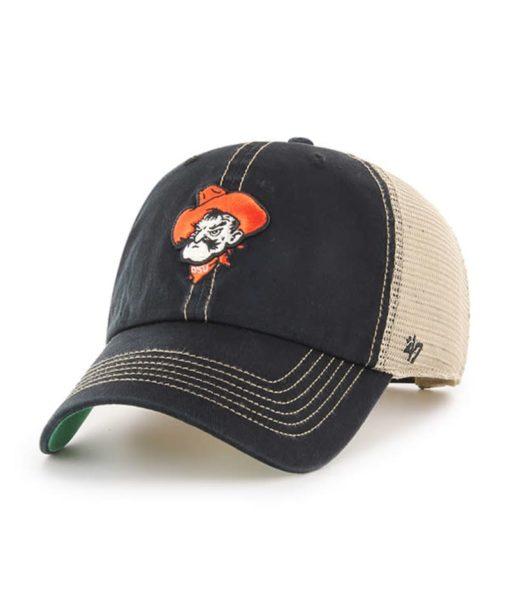 Oklahoma State Cowboys 47 Brand Trawler Black Clean Up Mesh Snapback Hat