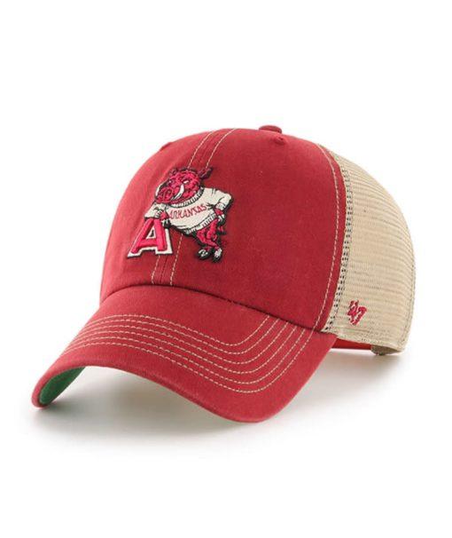Arkansas Razorbacks 47 Brand Trawler Red Clean Up Mesh Snapback Hat