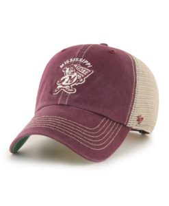 Mississippi State Bulldogs 47 Brand Trawler Dark Maroon Clean Up Mesh Snapback Hat