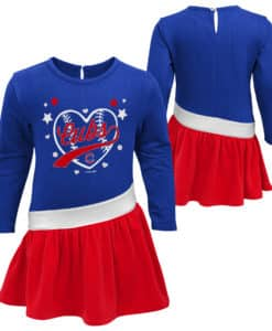 Chicago Cubs Baby Girls Blue Red Diamond Dress