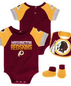 Washington Redskins Baby Boys Burgundy 3 Piece Creeper Set