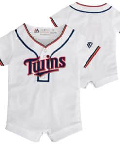 Minnesota Twins Baby White Button Up Jersey Romper Coverall
