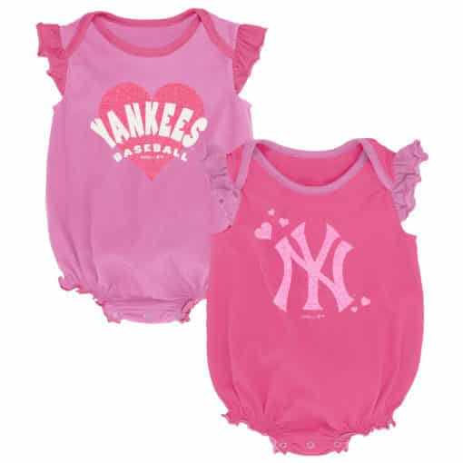 New York Yankees Baby Girls Pink Sparkle 2-Pack Creeper