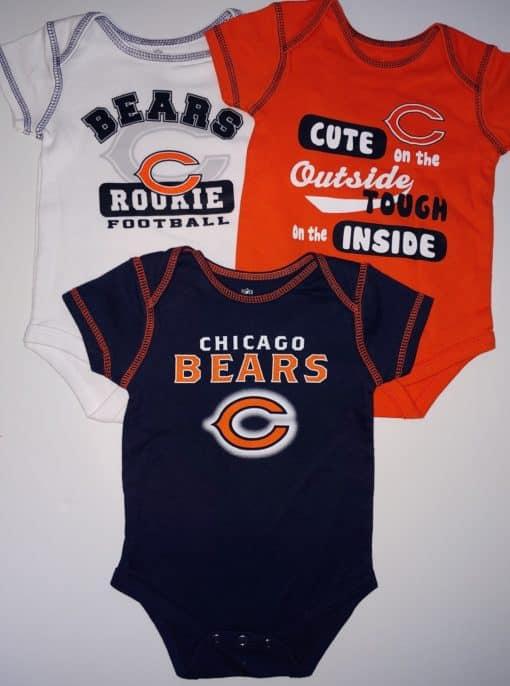 Chicago Bears Baby Orange Navy White 3-Pack Onesie Creeper