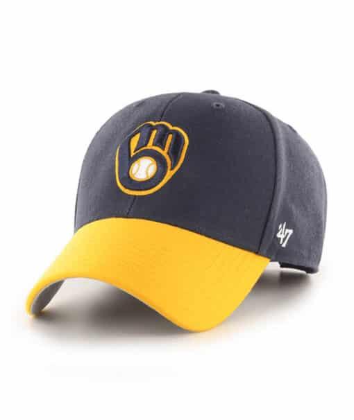 Milwaukee Brewers 47 Brand Navy Yellow MVP Adjustable Hat
