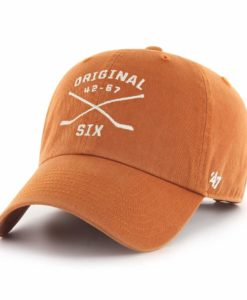 Original Six 47 Brand Vintage Burnt Orange Crossing Sticks Clean Up Adjustable Hat