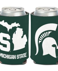 Michigan State Spartans 12 oz Green State Shape Can Koozie Holder