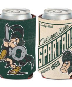 Michigan State Spartans 12 oz Vintage Green Can Koozie Holder