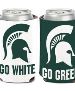 Michigan State Spartans 12 oz Go Green Go White Slogan Can Koozie Holder