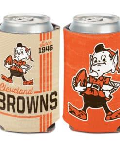 Cleveland Browns Vintage 12 oz Brown Orange Can Koozie Holder
