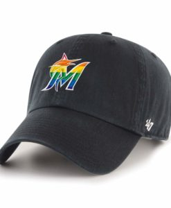 Miami Marlins 47 Brand Pride Black Clean Up Adjustable Hat