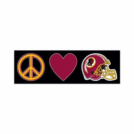 "Washington Redskins Peace & Love 3"" x 10"" Window Decal"
