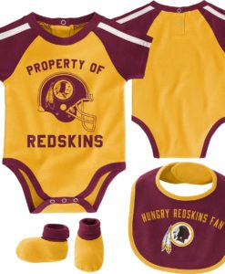 Washington Redskins Baby Gold Burgundy 3 Piece Creeper Set