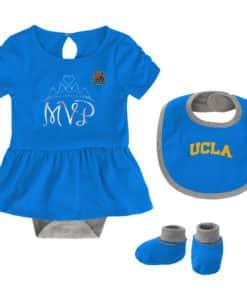 UCLA Bruins Baby Girls Sky Blue MVP Princess 3 Piece Creeper Set