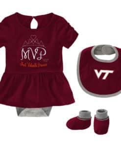 Virginia Tech Hokies Baby Girls Maroon MVP Princess 3 Piece Creeper Set