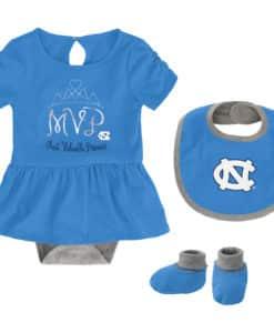 North Carolina Tar Heels Baby Girls Carolina Blue MVP Princess 3 Piece Creeper Set
