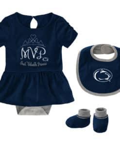 Penn State Nittany Lions Baby Girls Navy MVP Princess 3 Piece Creeper Set