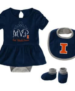 Illinois Fighting Illini Baby Girls Navy MVP Princess 3 Piece Creeper Set