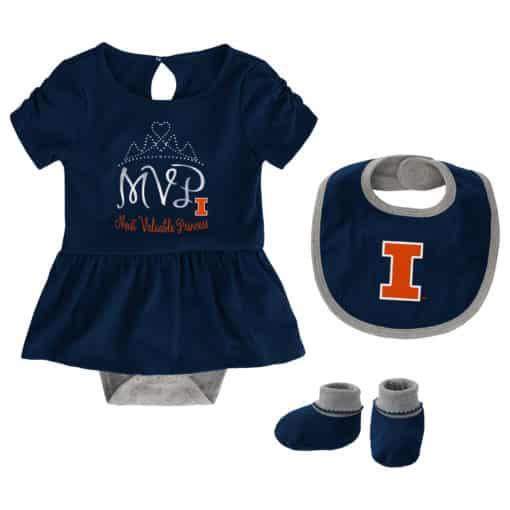 Illinois Fighting Illini Baby Girls Navy MVP Princess 3 Piece Creeper Set