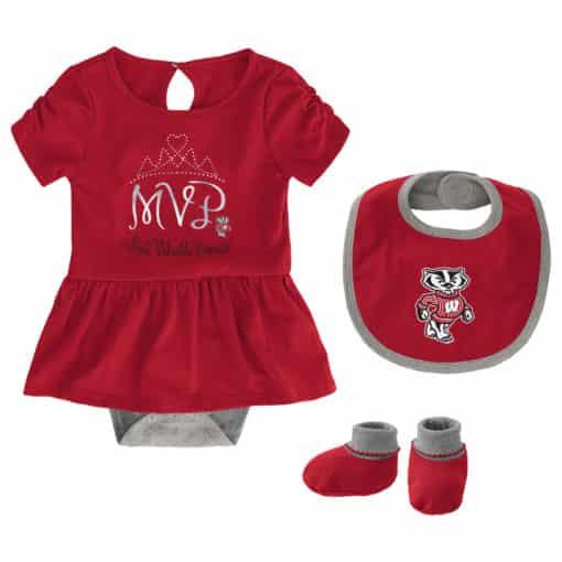 Wisconsin Badgers Baby Girls Red MVP Princess 3 Piece Creeper Set
