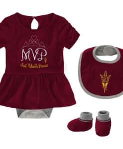 Arizona State Sun Devils Baby Girls Maroon MVP Princess 3 Piece Creeper Set