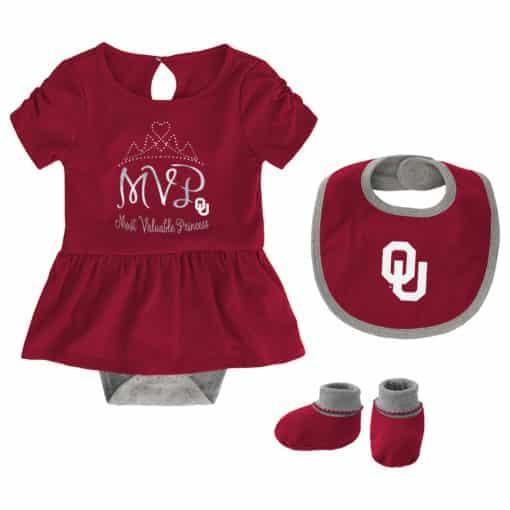 Oklahoma Sooners Baby Girls Crimson MVP Princess 3 Piece Creeper Set