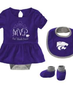 Kansas State Wildcats Baby Girls Purple MVP Princess 3 Piece Creeper Set