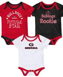 Georgia Bulldogs Baby 3 Pack Future Star Onesie Creeper Set