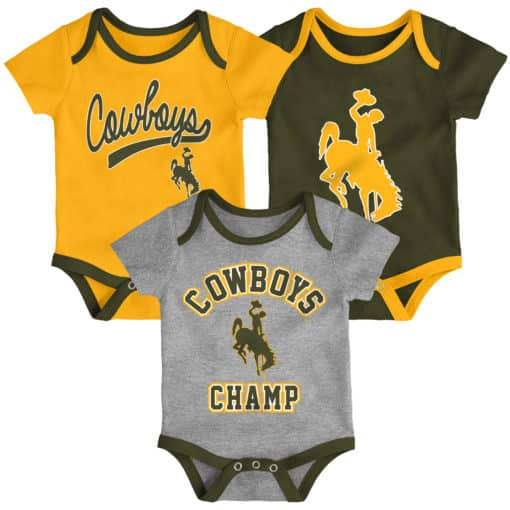 Wyoming Cowboys Baby 3 Piece Champ Onesie Creeper Set