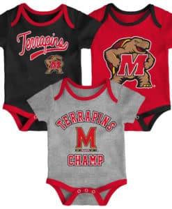 Maryland Terrapins Baby 3 Pack Champ Onesie Creeper Set