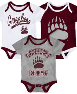 Montana Grizzlies Baby 3 Pack Champ Onesie Creeper Set