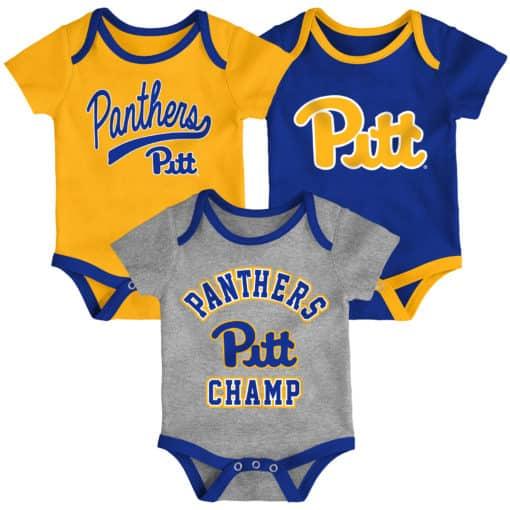 Pittsburgh Pitt Panthers Baby 3 Pack Champ Onesie Creeper Set