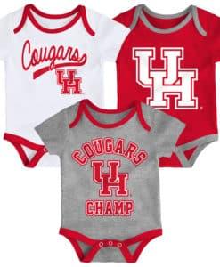 Houston Cougars Baby 3 Piece Champ Onesie Creeper Set